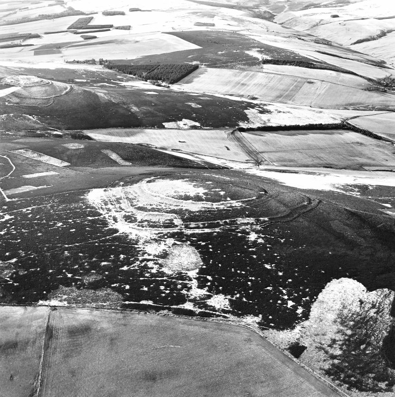 Oblique aerial view of Brown Caterthun centred on the remains of a fort, taken from the ENE.