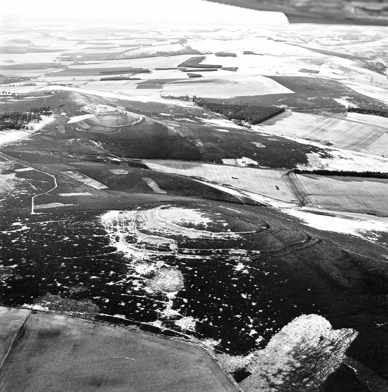 Oblique aerial view of Brown Caterthun centred on the remains of a fort, taken from the NE.