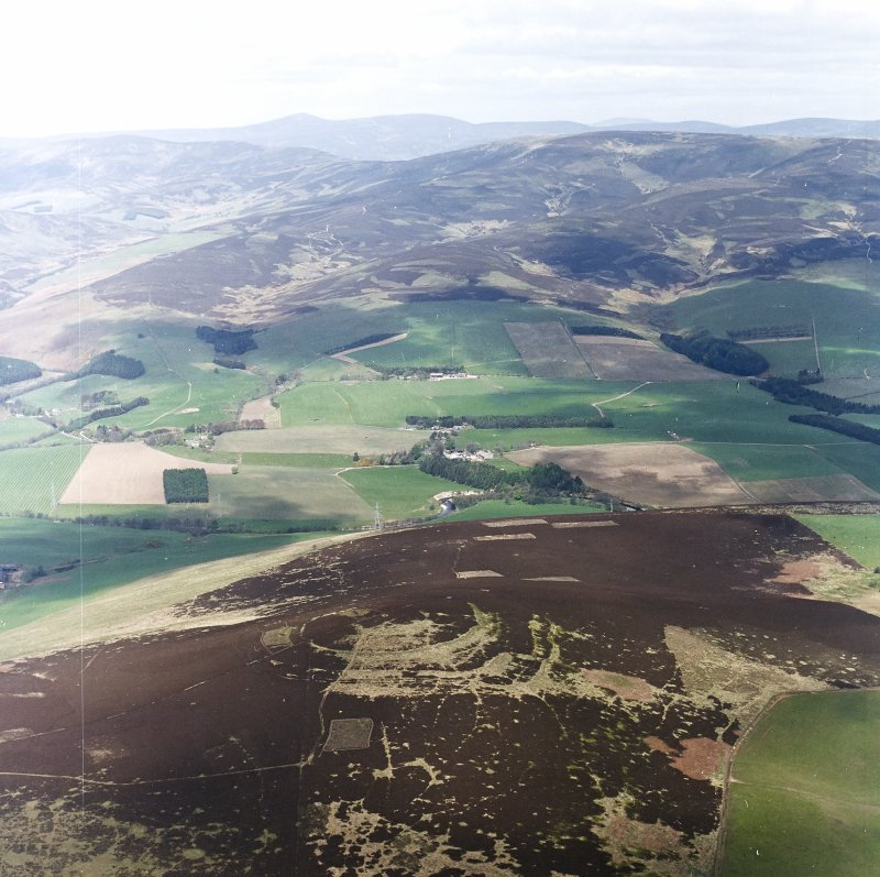 Oblique aerial view centred on the remains of the fort, taken from the SE .