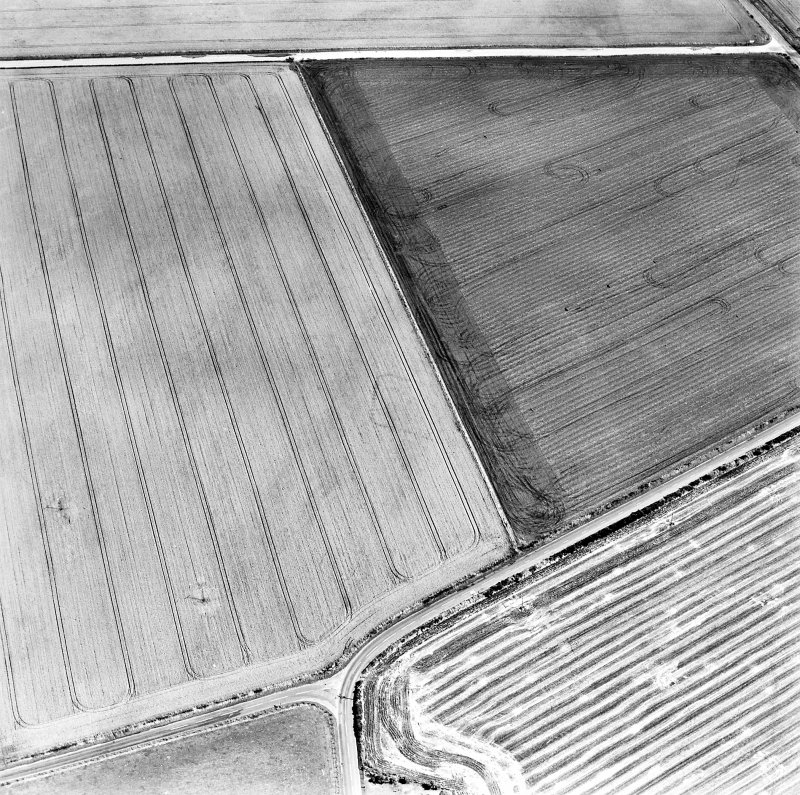 Oblique aerial view centred on the cropmarks of the NE terminal of a pit-defined cursus with ring-ditches, pits and cropmarks adjacent, taken from the WNW.