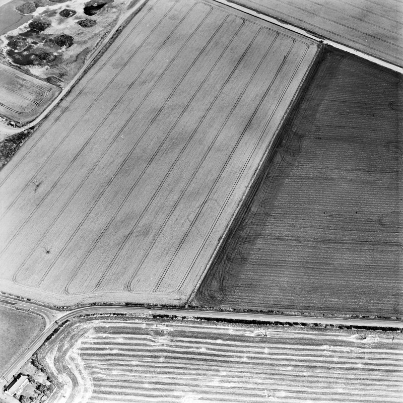 Oblique aerial view centred on the cropmarks of the NE terminal of a pit-defined cursus with ring-ditches, pits and cropmarks adjacent, taken from the SW.