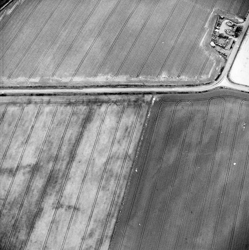Oblique aerial view centred on the cropmarks of the pit-defined cursus, taken from the ENE.
