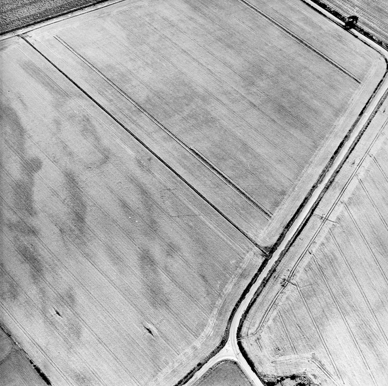Oblique aerial view centred on the cropmarks of the pit-defined cursus, taken from the NW.