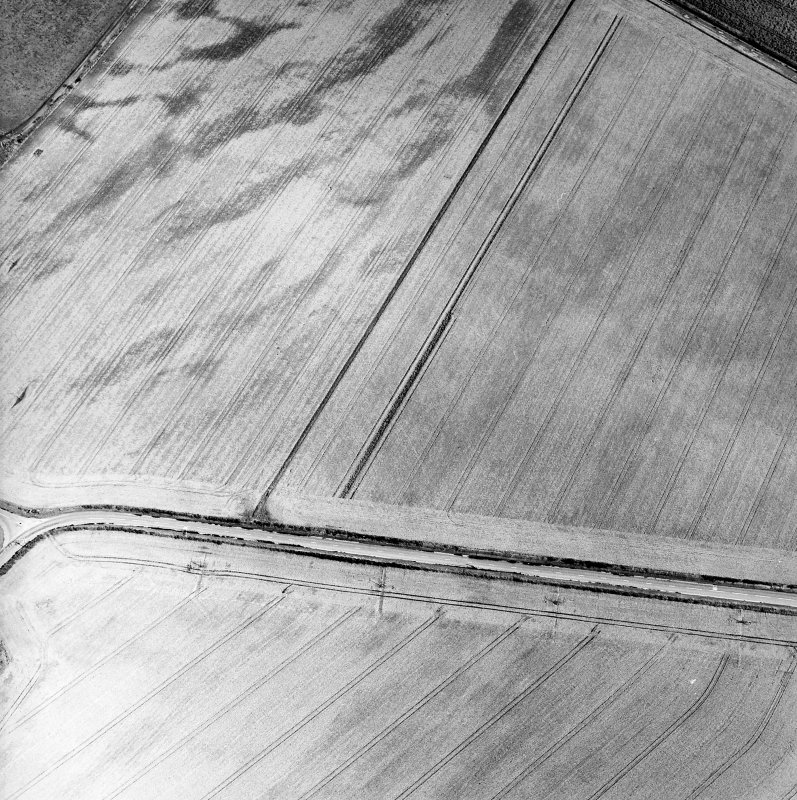 Oblique aerial view centred on the cropmarks of the pit-defined cursus, taken from the SW.