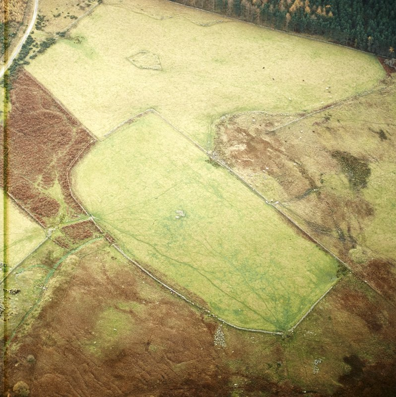Oblique aerial view centred on the remains of the field-system and clearance cairns with recumbent stone circle and ring cairn adjacent, taken from the NNE.