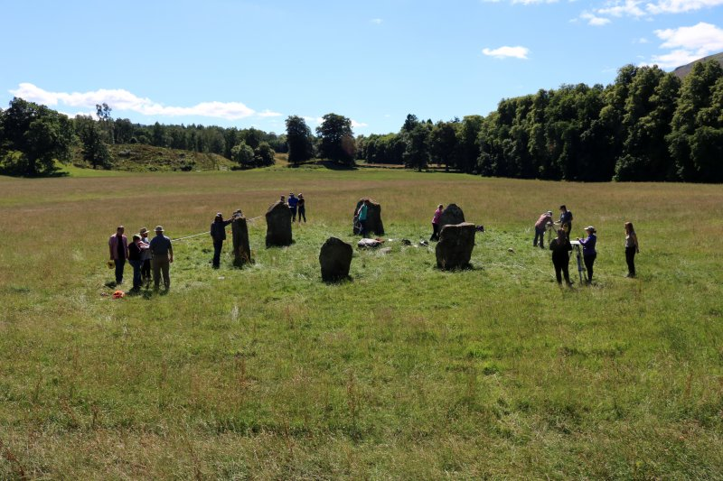 UNA students undertaking plane table survey of stone circle