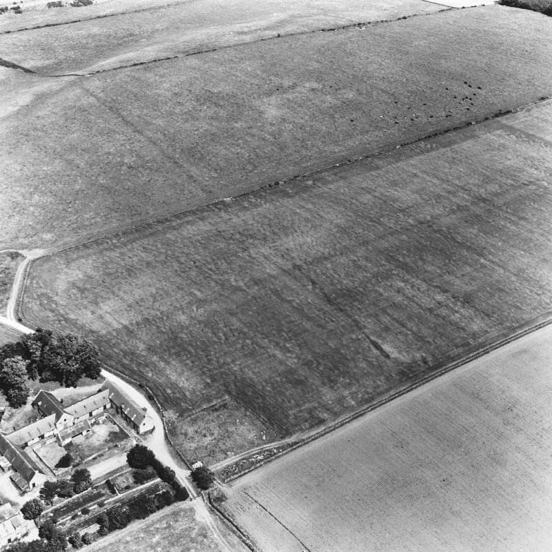 Normandykes, Roman temporary camp, oblique aerial photograph.