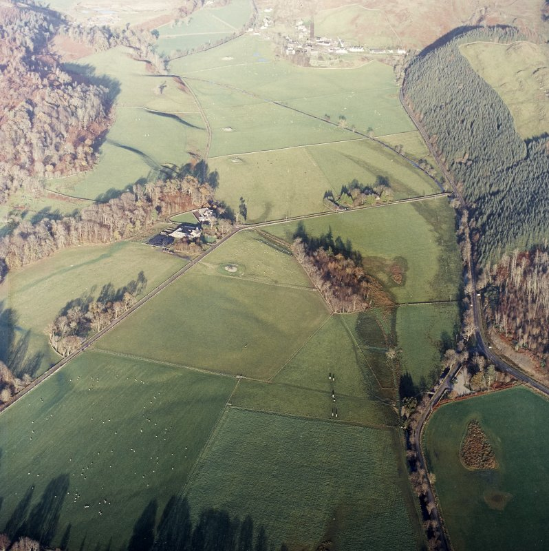 General oblique view of the valley showing the remains of the standing stones and cairns, and the school and farmstead, taken from the SW.