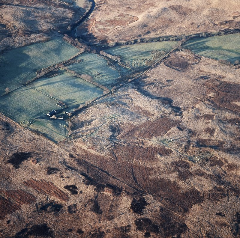 Machrie Moor, oblique aerial view, centred on a group of stone circles.