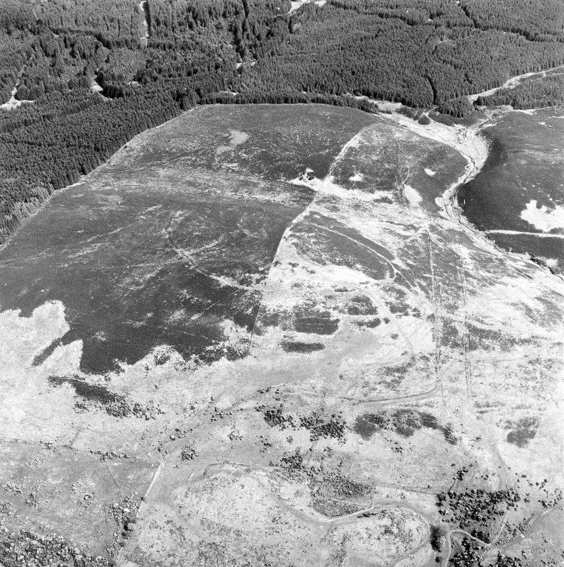 Oblique aerial view centred on the remains of the fort, taken from the WSW.