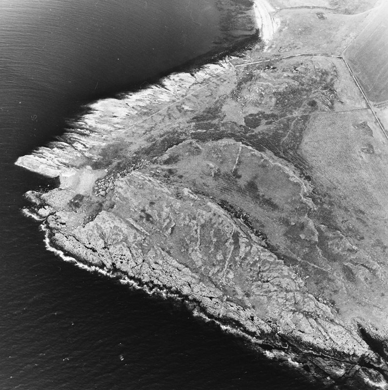 Oblique aerial view centred on the remains of the fort and rig with fort adjacent, taken from the S.