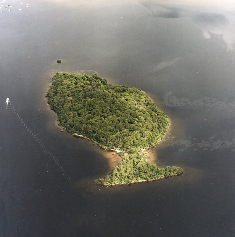 Oblique aerial view centred on Clairinsh Island with crannog adjacent, taken from the SW.