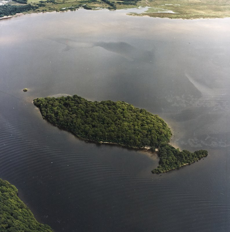 Oblique aerial view centred on Clairinsh Island with crannog adjacent, taken from the WSW.