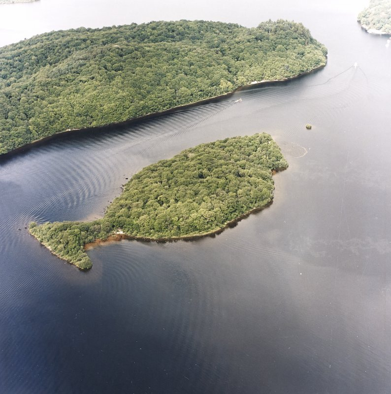 Oblique aerial view centred on Clairinsh Island with crannog adjacent, taken from the SSE.