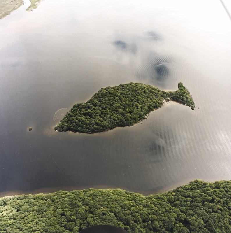 Oblique aerial view centred on Clairinsh Island with crannog adjacent, taken from the NW.