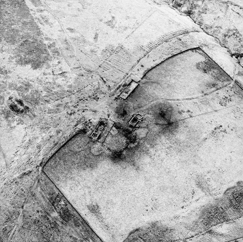 Oblique aerial view centred on the remains of the farmstead, field banks, rig and tower-house, taken from the ENE.