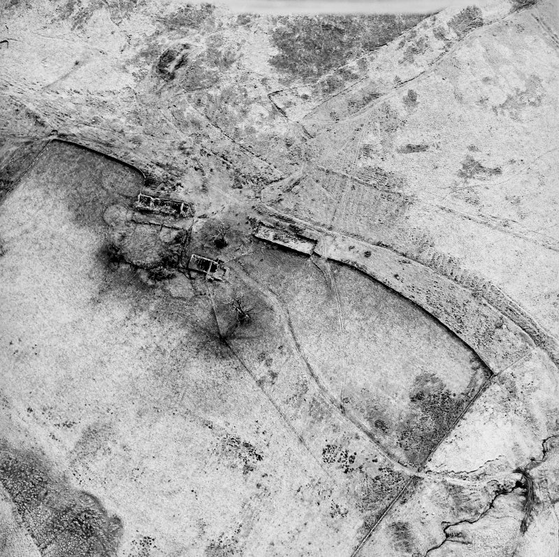 Oblique aerial view centred on the remains of the farmstead, field banks, rig and tower-house, taken from the N.