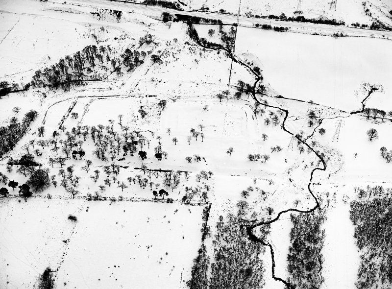 Rough Castle fort: aerial view under snow