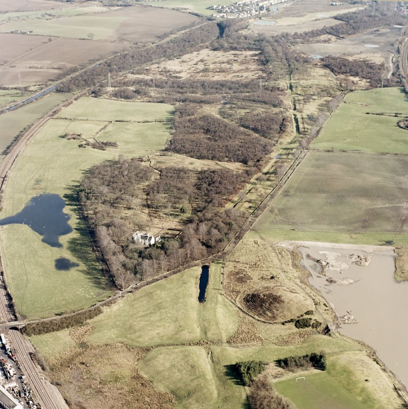 Aerial view along the Antonine Wall (c. 836 798) including Rough Castle, taken from the W.