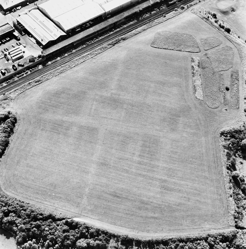 Camelon Roman Fort, oblique aerial view, taken from the ENE.