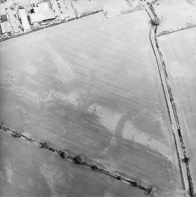 Oblique aerial view centred on the cropmarks of the pits, rig and Roman temporary camps, taken from the WSW.