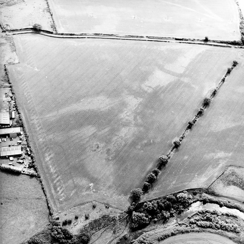 Oblique aerial view centred on the cropmarks of the pits, rig and Roman temporary camps, taken from the NW.