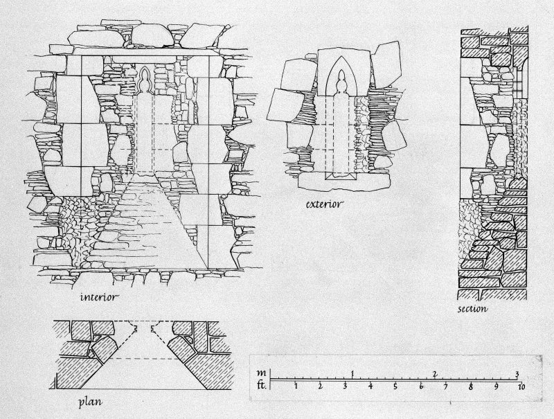 Iona, Iona Nunnery. Plan showing window in East gable of refectory.