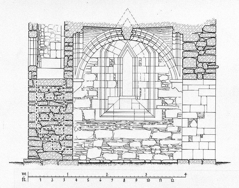 Iona, Iona Nunnery. Plan showing section through North chapel looking East.