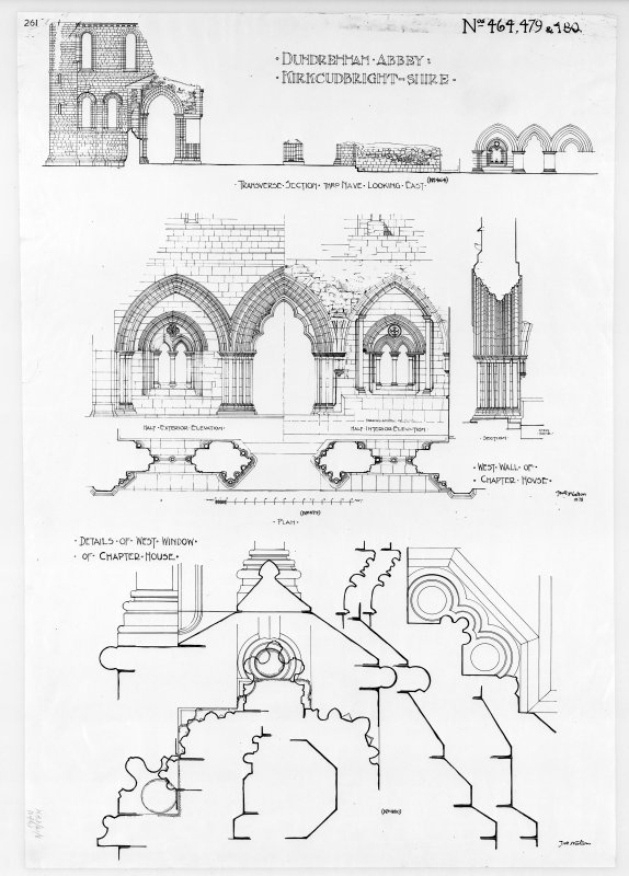 Photographic copy of section, elevations and details of chapter house.