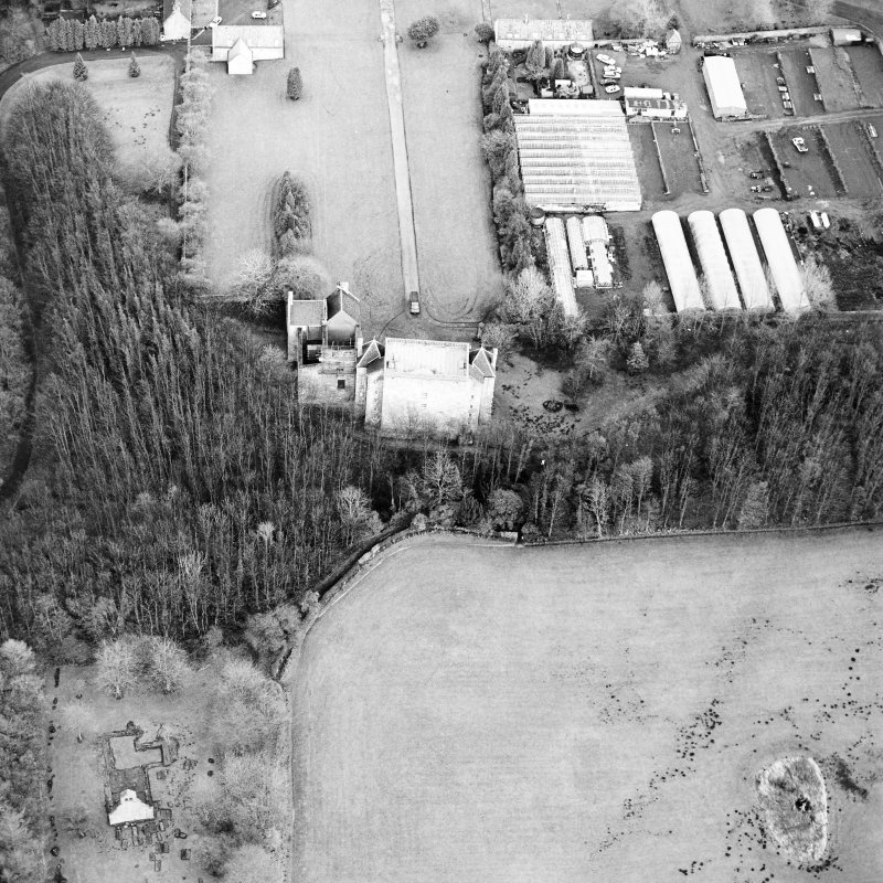 Aerial view of Kinneil House, Old Kinneil Kirk and the Antonine Wall, taken from the W.