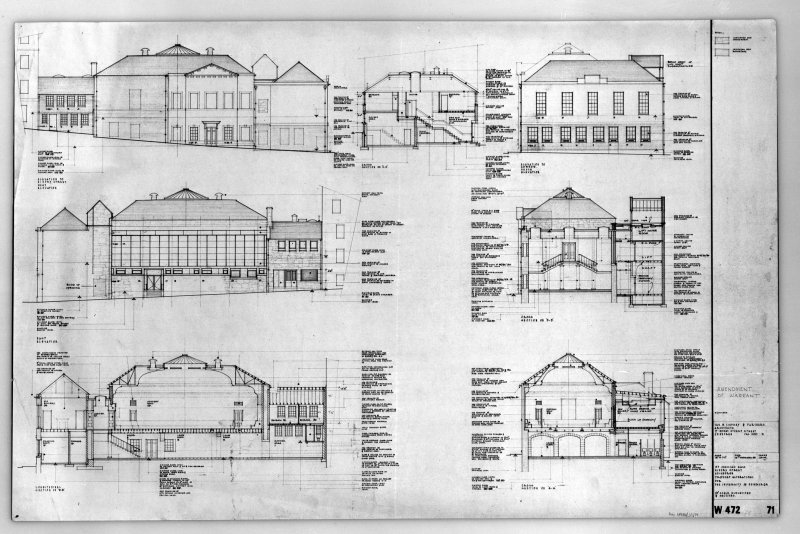 Photographic copy of plans, sections and elevations showing alterations including details of gallery, kitchen, cupola, plant chamber and lift shaft.
