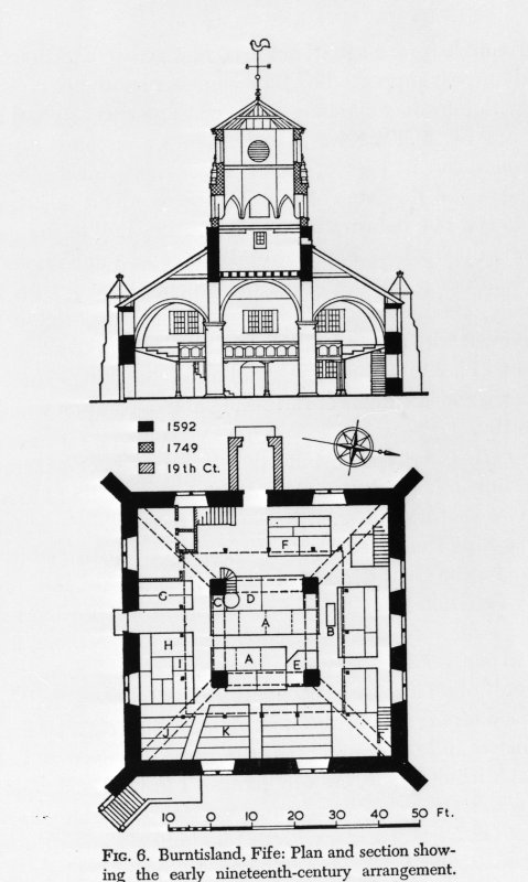 Photographic copy of drawing of St Columba's Parish Church, taken from 'The architecture of Scottish post-reformation churches', p 33.