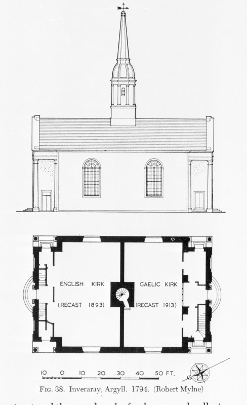 Photographic copy of drawing of side elevation and floor plan. Taken from 'The architecture of Scottish post-reformation churches' p105.