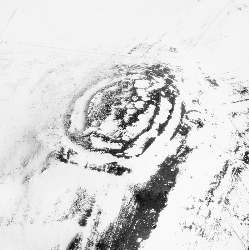 Oblique aerial view of Castlehill, Candybank fort.