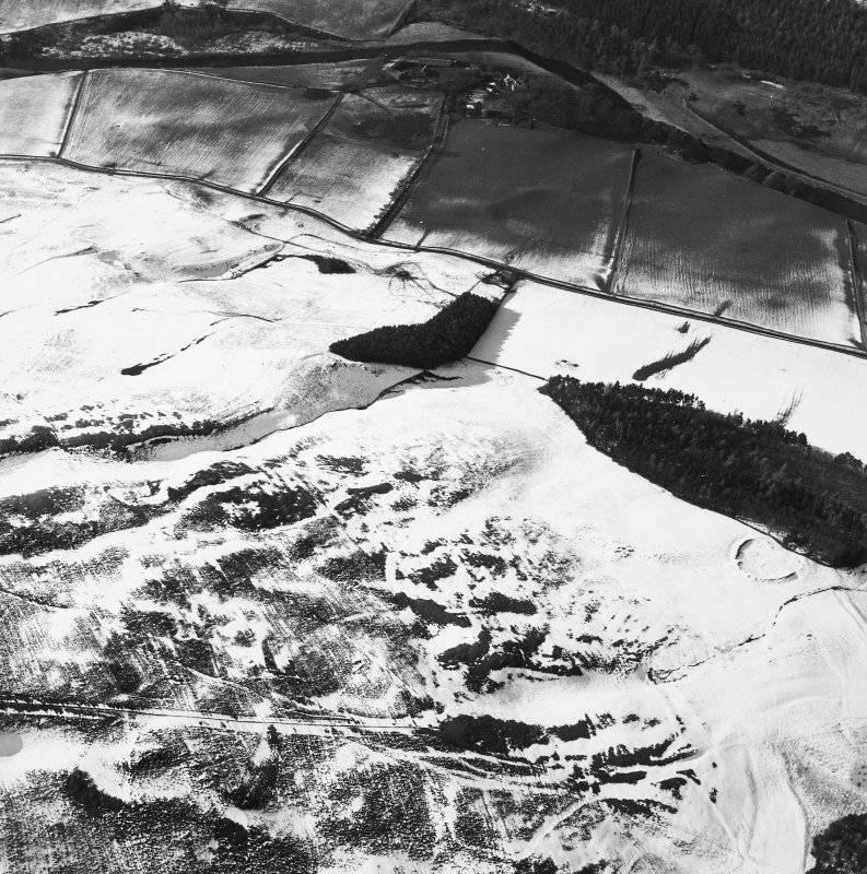 Oblique aerial view centred on the remains of the cultivation terraces, rig and sheepfold with the remains of the castle and settlement adjacent, taken from the SE.