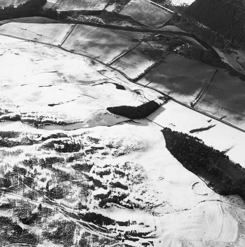 Oblique aerial view centred on the remains of the cultivation terraces, rig and sheepfold with the remains of the castle and settlement adjacent, taken from the ESE.