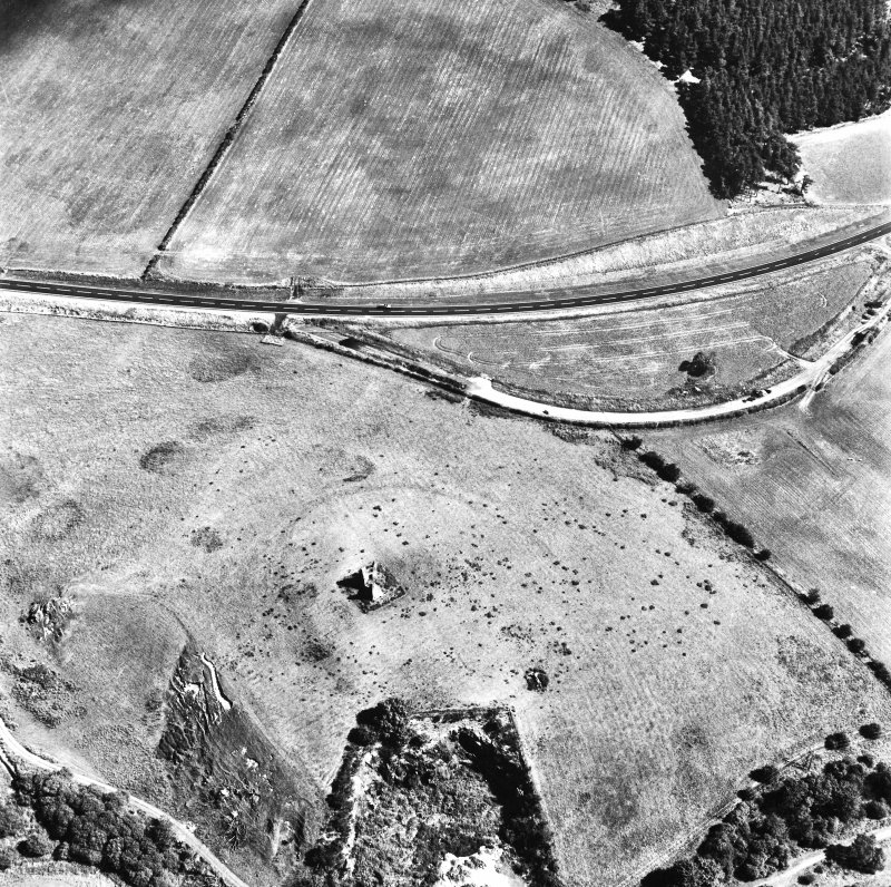 Horsburgh Castle, oblique aerial view, taken from the SSW, centred on the Tower surrounded by the cropmarks of a fort.