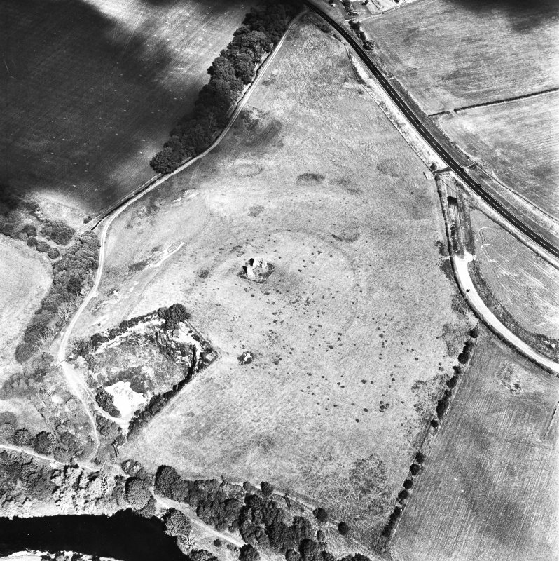 Horsburgh Castle, oblique aerial view, taken from the SE, centred on the Tower surrounded by the cropmarks of a fort.