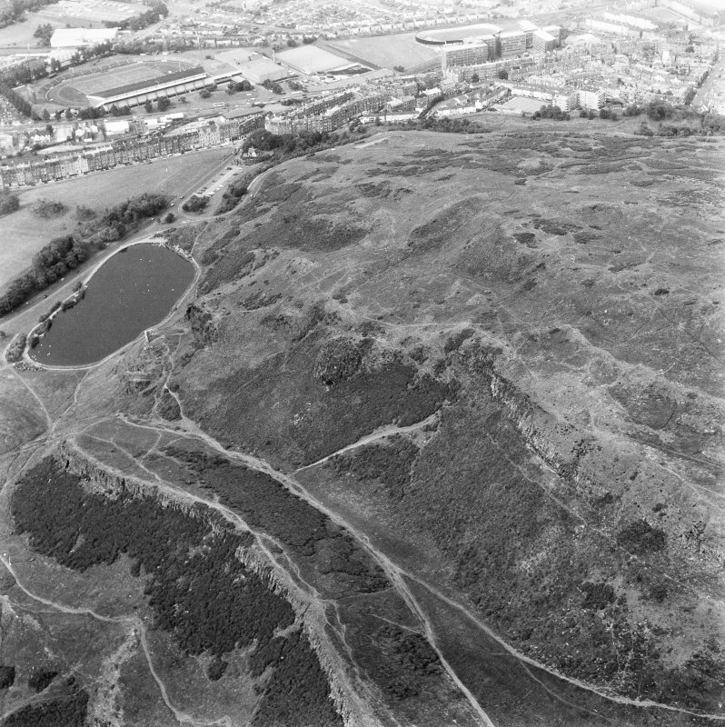 Aerial view of Holyrood Park looking North