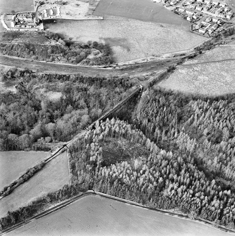 Oblique aerial view of Bilston Viaduct centred on the railway viaduct, taken from the SE.