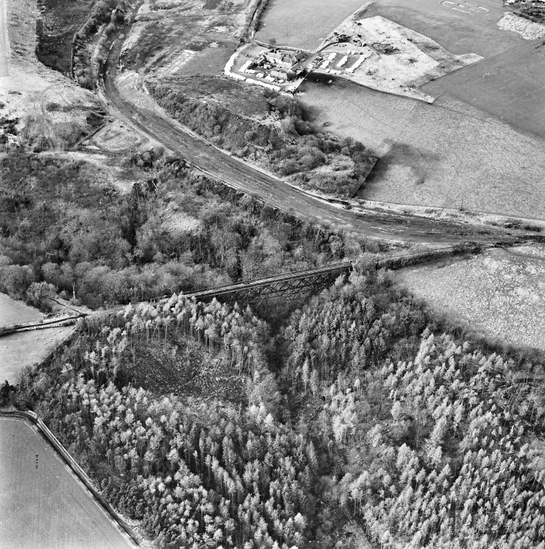 Oblique aerial view of Bilston Viaduct centred on the railway viaduct, taken from the ESE.