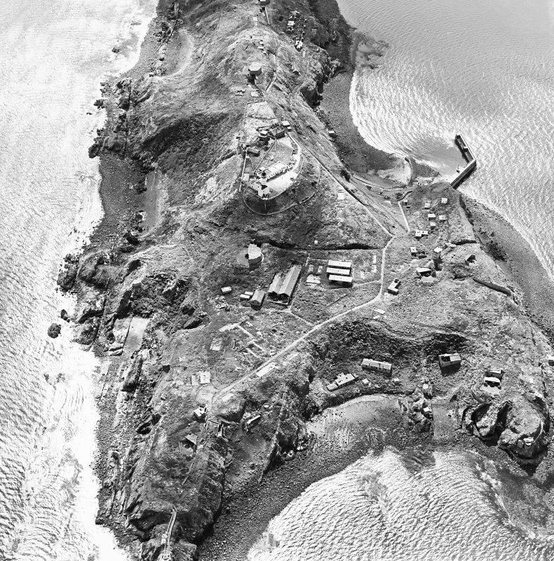 Oblique aerial view of Inchkeith Island centred on the defences, taken from the NNW.