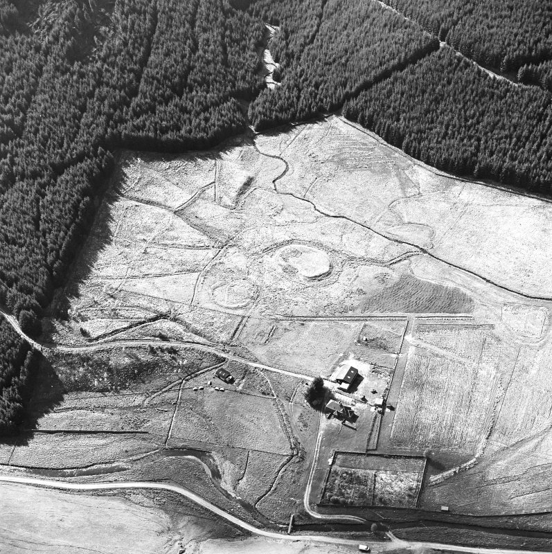 Oblique aerial view centred on the remains of the motte, taken from the SE