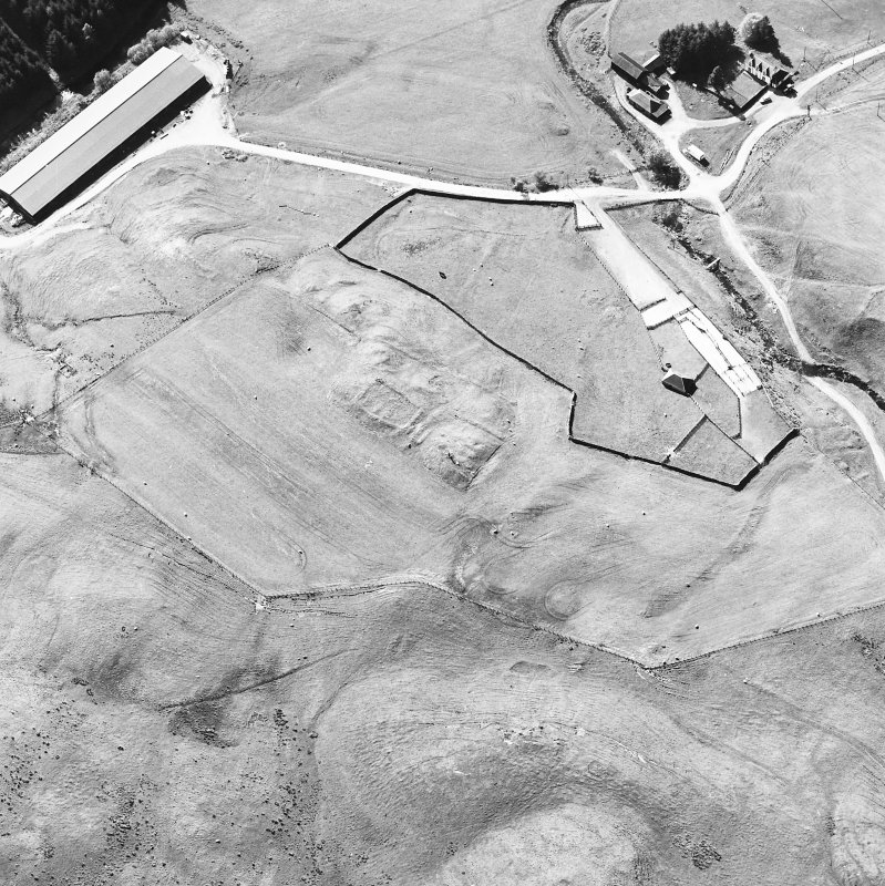 Oblique aerial view centred on the remains of the possible farmstead with the remains of the castle adjacent, taken from the E.