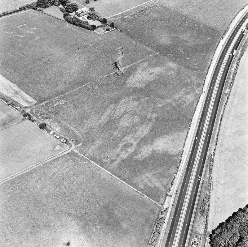 Newton, oblique aerial view, taken from the S, centred on the cropmark of a pit alignment. Monkton House is visible in the top half of the photograph.