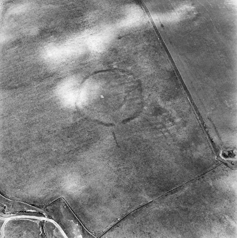 Huntly Burn, oblique aerial view, taken from the E, centred on the cropmarks of two settlements, and an area of rig and furrow cultivation.