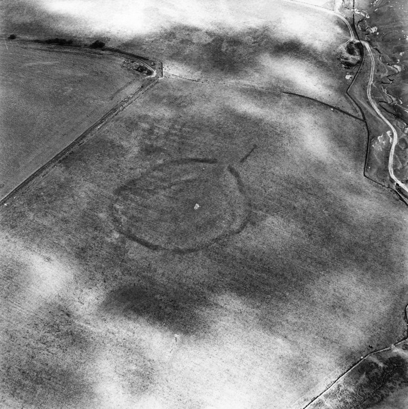 Huntly Burn, oblique aerial view, taken from the SW, centred on the cropmarks of two settlements, and an area of rig and furrow cultivation.