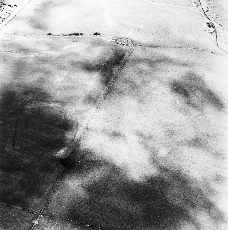 Huntly Burn, oblique aerial view, taken from the SW, centred on the cropmarks of a settlement and rig.  A second enclosure is visible in the left centre of the photograph.