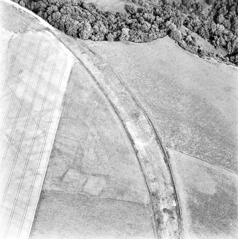 Caddonlee, oblique aerial view, taken from the WSW, centred on the cropmarks of an enclosure.