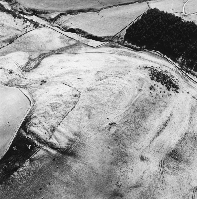 Oblique aerial view of Kirktonhill centred on the remains of a fort, taken from the N.